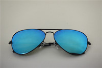 Aviator , rb 3025 002/17 black frame skyblue flash lens, unisex sunglasses .58 62mm