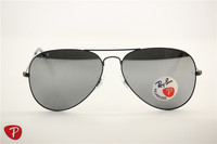 Aviator , rb 3025 black frame silver polarized flash lens,unisex sunglasses ,58 62mm