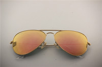 Aviator , rb 3025 019/Z2 matte golden frame pink flash lens , classical sunglasses ,55 58 62mm