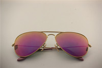Aviator , rb 3025 112/68F matte golden frame purple flash lens, unisex sunglasses ,55 58 62mm