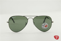 Aviator , rb 3025 004/58 gunmetal frame green polarized lens unisex sunglasses ,58 62mm