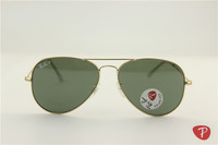 Aviator ,rb 3025 001/58 golden frame green polarized lens ,unisex sunglasses ,58 62mm