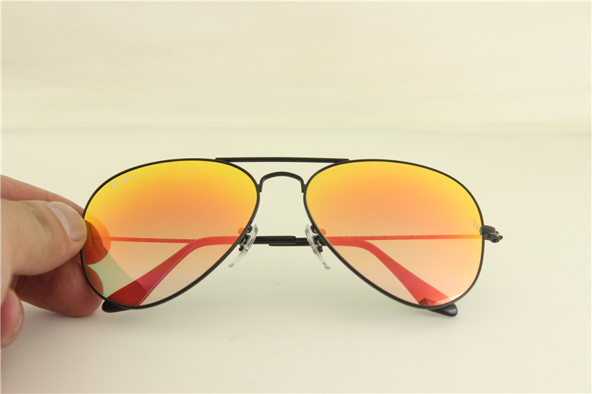 Aviator, rb 3025 002/4W black frame orange gladual flash lens, unisex sunglasses ,58mm