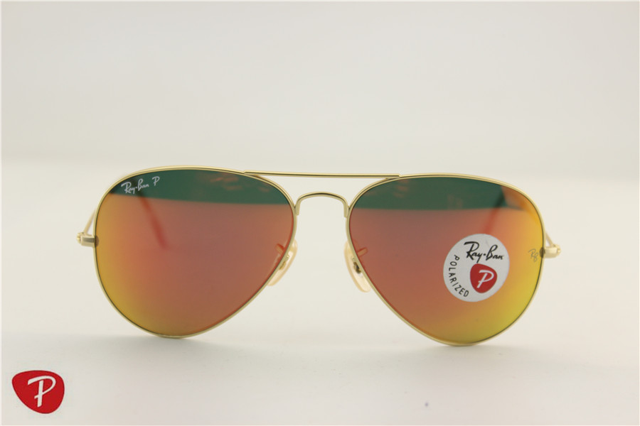 Aviator , rb 3025 112/4D matte golden frame orange flash lens polarized ,58 62mm