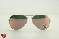 Aviator ,rb 3025 019/z2 silver frame pink polarized flash lens, 58 62mm
