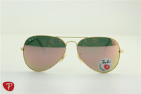 Aviator , rb 3025 019/Z2 matte golden frame pink flash polarized lens, unisex sunglases , 58 62mm