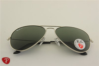 Aviator ,rb 3025 003/58 silver frame green polarized sunglasses , 58 62mm